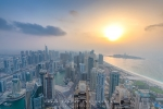 Hazy Dubai Sunset from Cayan Tower, Dubai Marina, Dubai, UAE