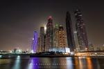 City Skyscrapers by Moon Rise, Dubai Marina, Dubai, UAE