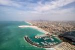 Jumeirah Beach Hotel and Dubai Skyline from Burj Al Arab, Dubai, UAE